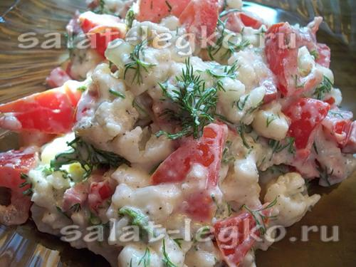 рецепт салата из цветной капусты с фото