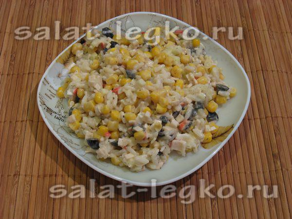 рецепты с кукурузой консервированной салаты и рисом