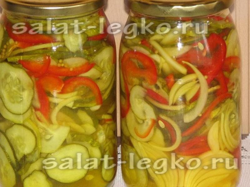 простые рецепты салатов с огурцами на зиму