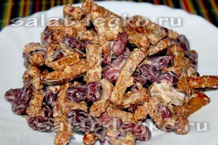 Салат с сухариками и с фасолью и кукурузой рецепты
