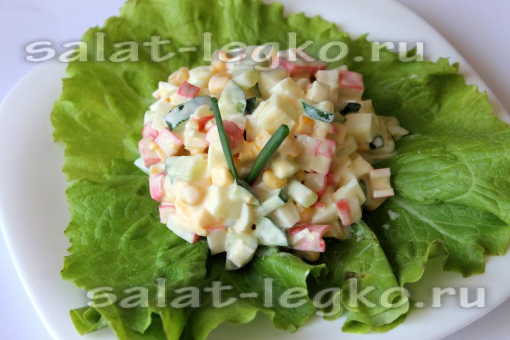 крабовый салат рецепт классический с огурцом с фото пошагово