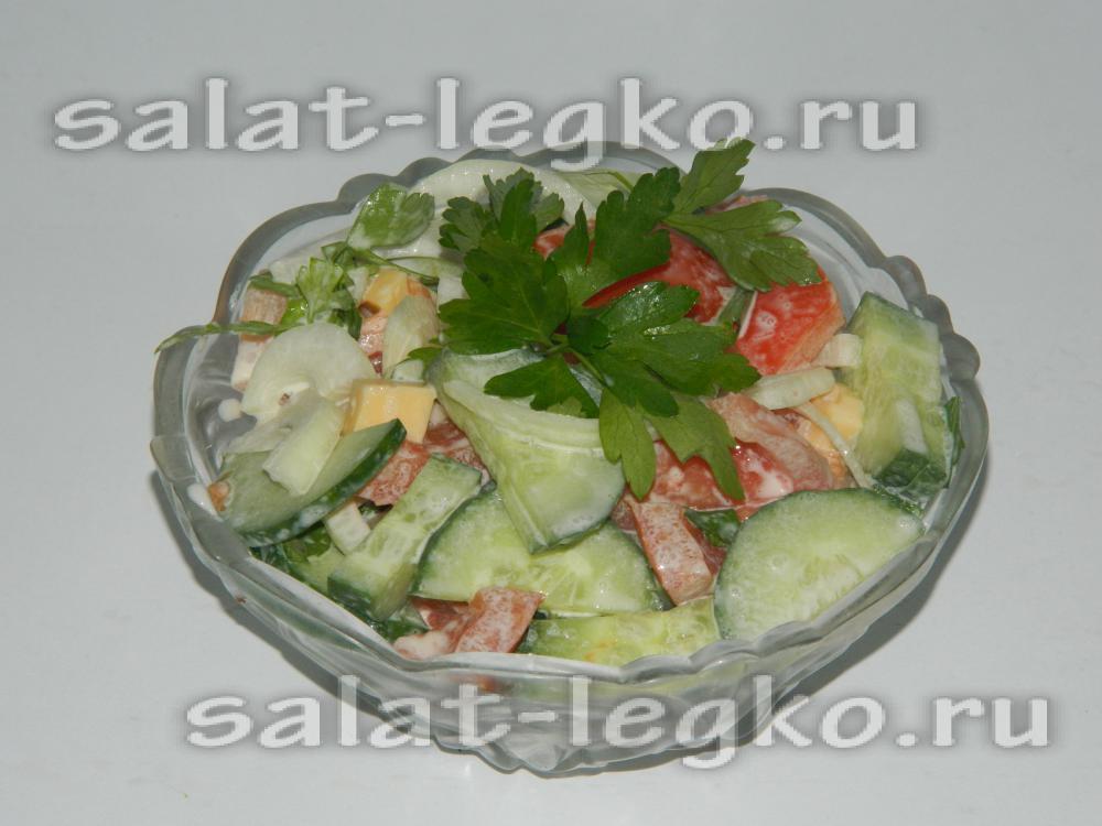 Салат с шампиньонами и свежими огурцами рецепт