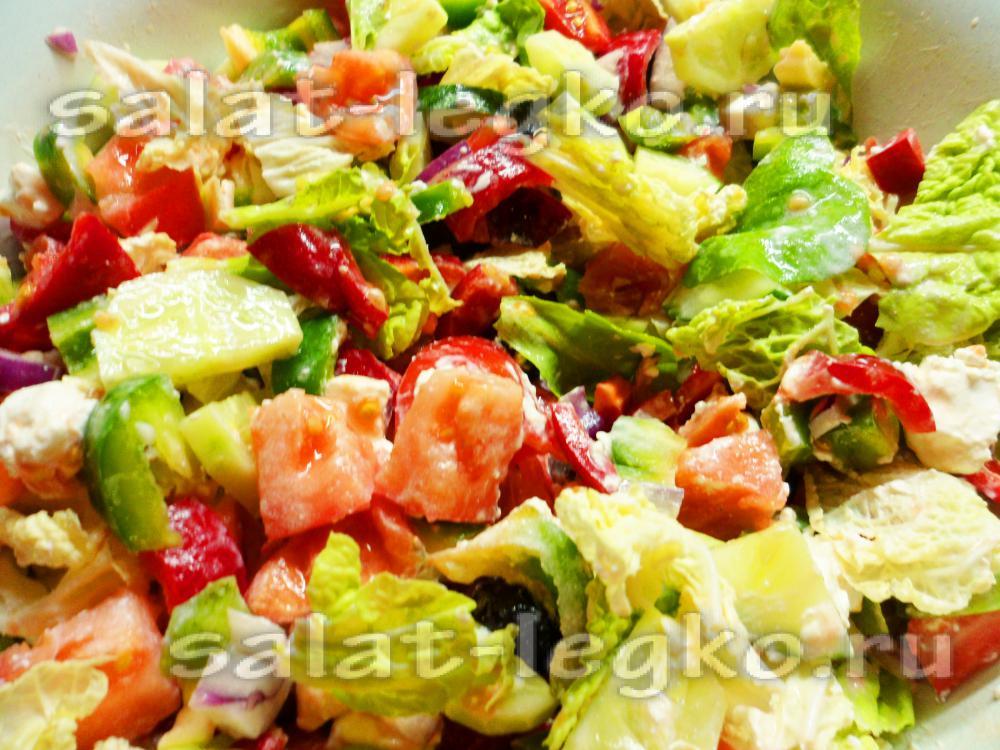 греческий салат рецепт с сухариками и пекинской капустой рецепт