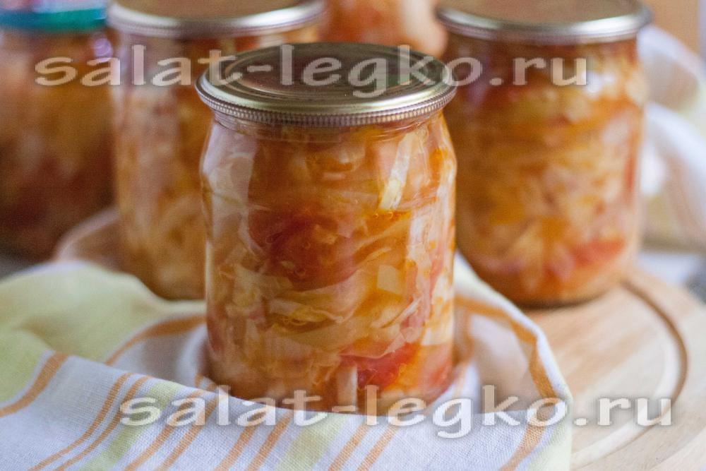 Рецепт салатов из огурцов и капусты на зиму