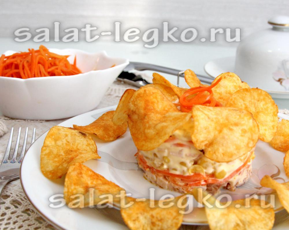 Салат с крабовыми палочками шампиньонами кукурузой