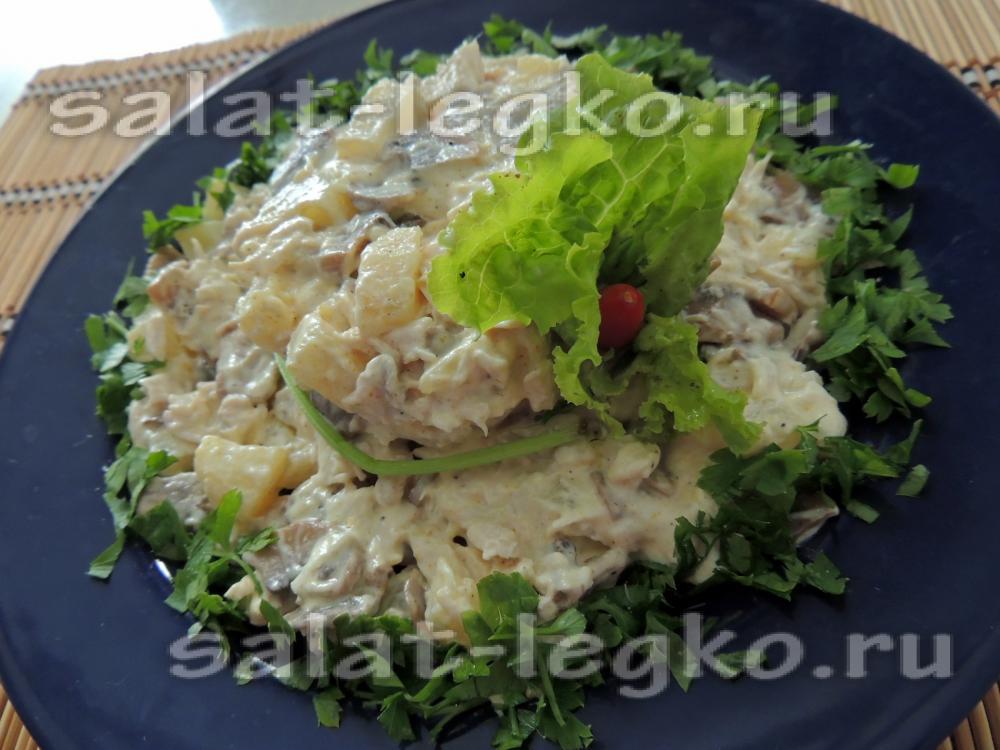 рецепт салата с ананасами и куриной