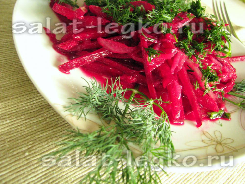 рецепт салата свекольного с чесноком