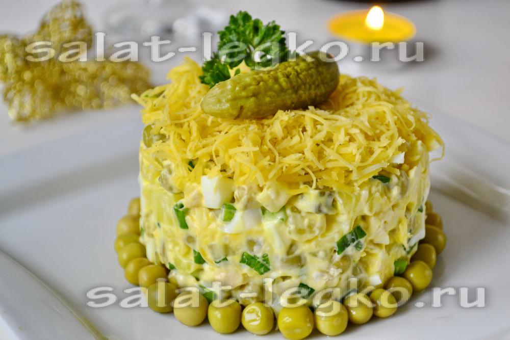 Салаты с зеленым горошком и рисом