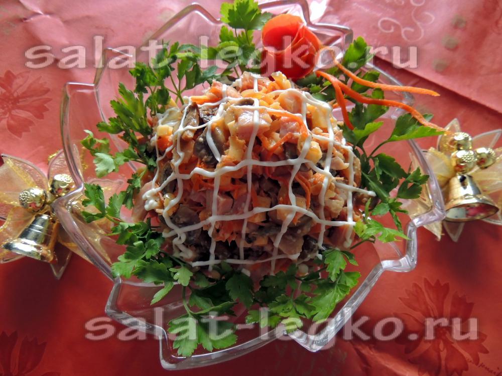 Салат с копченой курицей и маринованными грибами рецепт