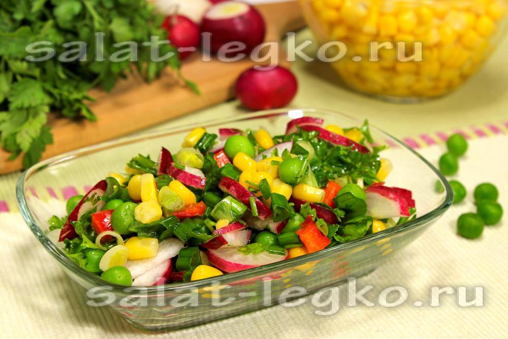 Салатов с консервированной кукурузой без крабовых палочек