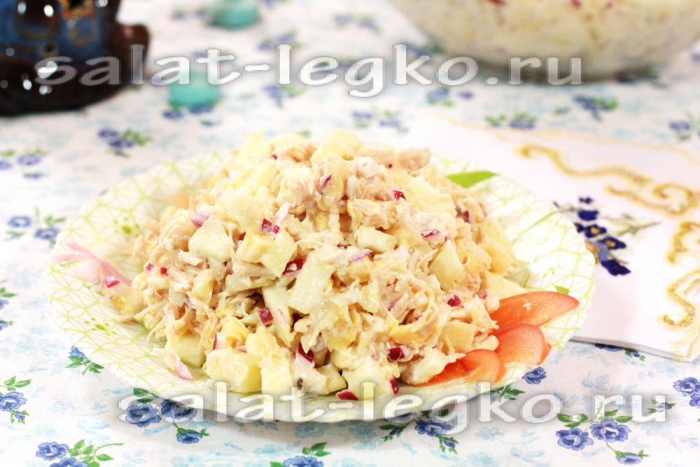Салат из вареной куриной грудки с