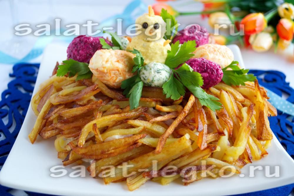 Салат с ананасом и маринованными грибами