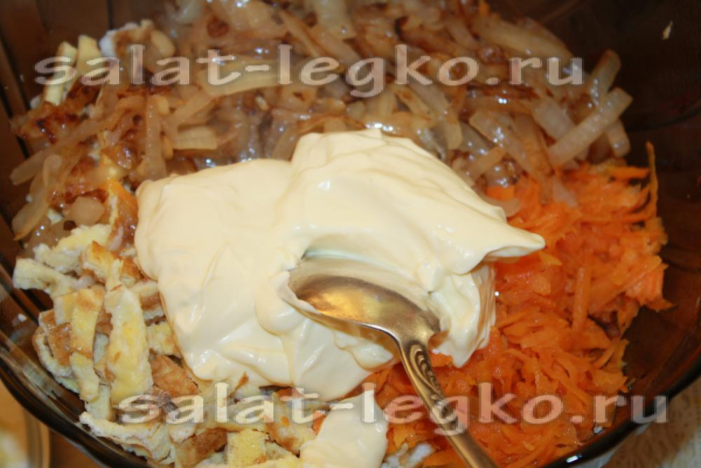рецепт салата с блинчиками и отварной курицы