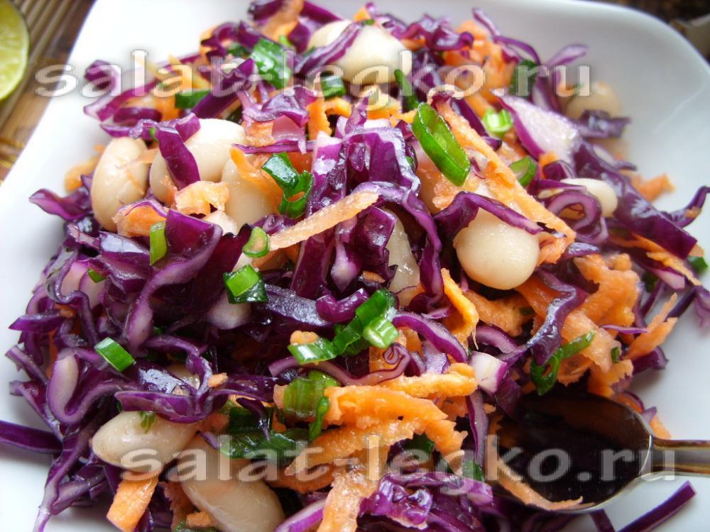 салат из красной капусты и свежих огурцов