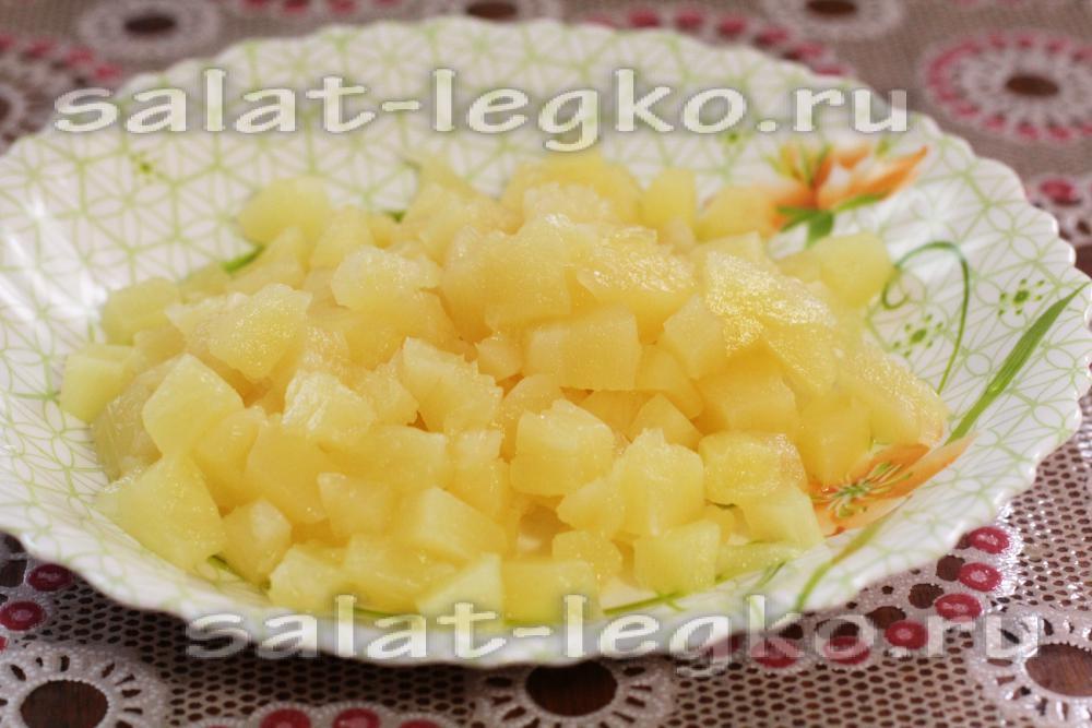 Салаты из ананасов консервированных с