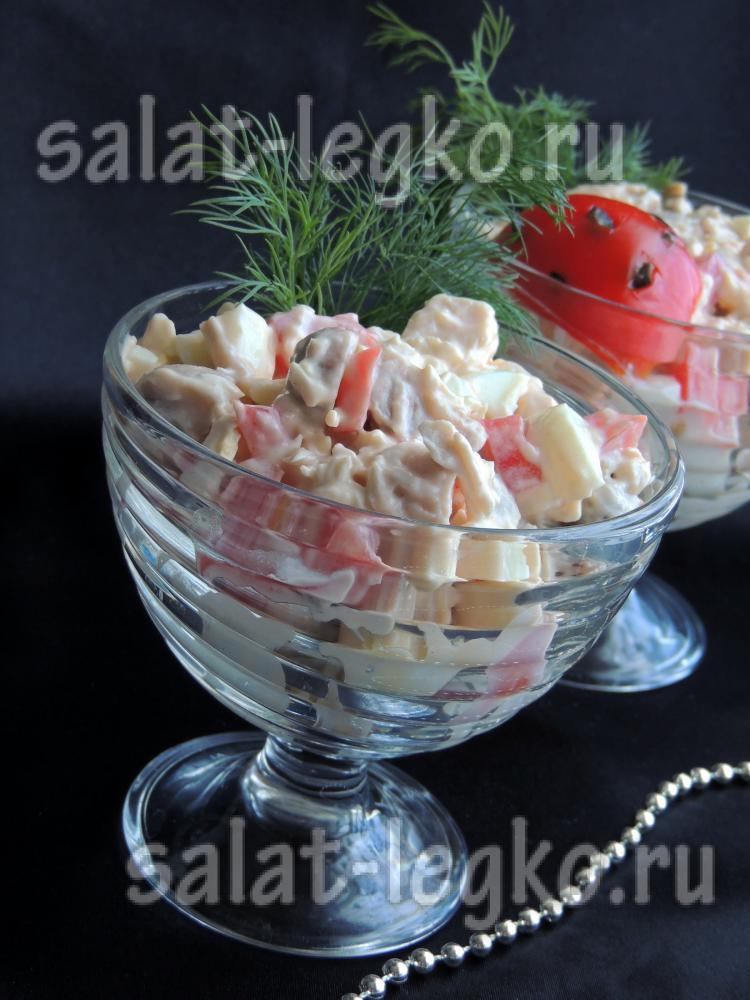 рецепт салата с сельдереем курицей и грибами