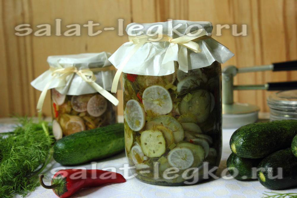 Рецепт консервирования салата из огурцов и лука