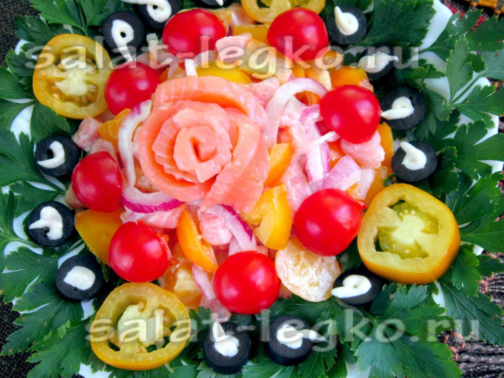 Салат из красной рыбы помидорами рецепт очень вкусный 76