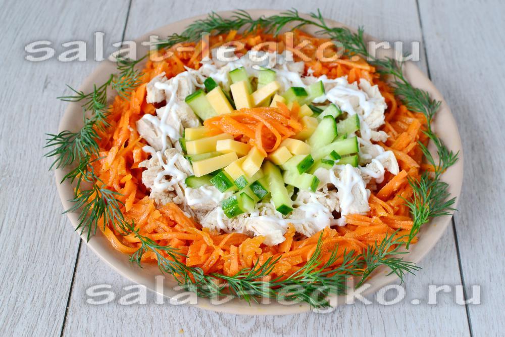 салат из куриной грудки моркови рецепт