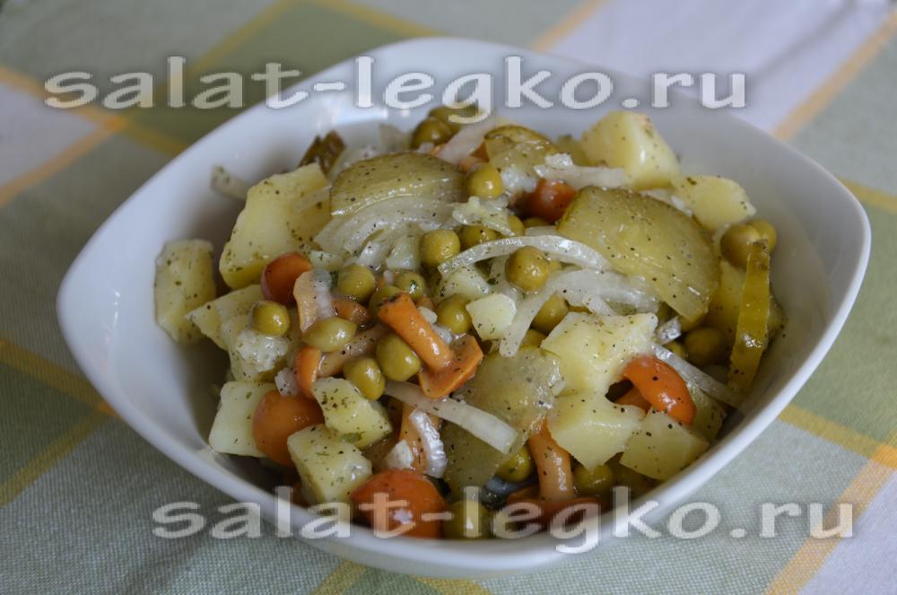 рецепт салата с горошком и маринованными огурцами