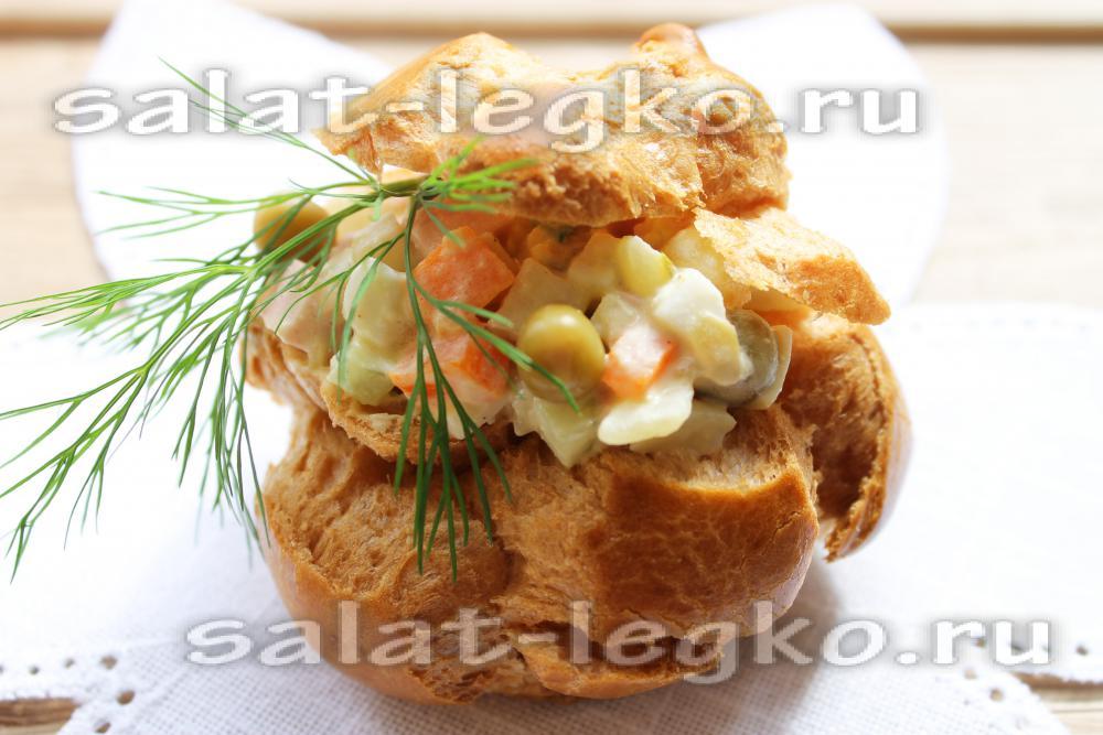 Фото профитроли с салатом