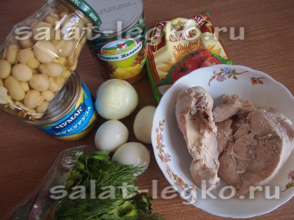 салат из консервированных грибов рецепт с фото очень