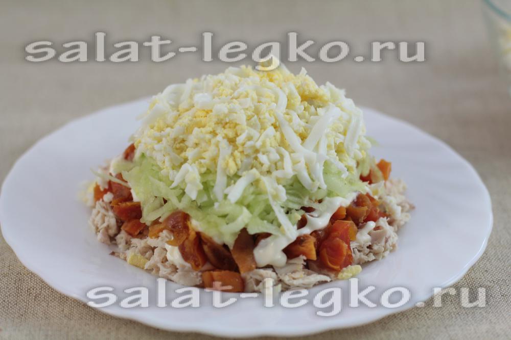 Салат с грибами жареными подсолнух