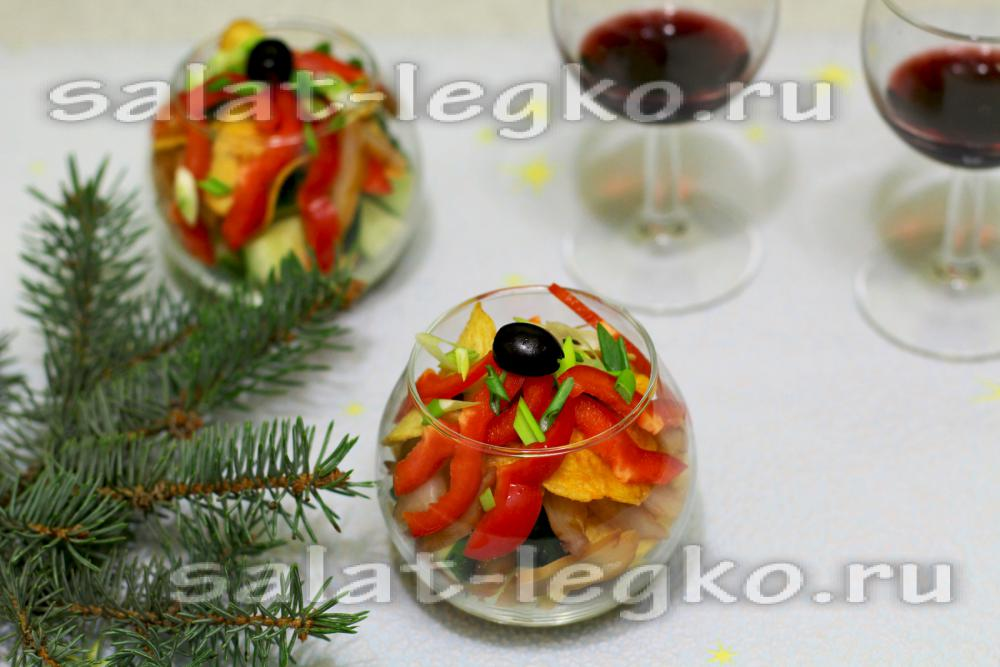 рецепты салатов с чипсами и грибами