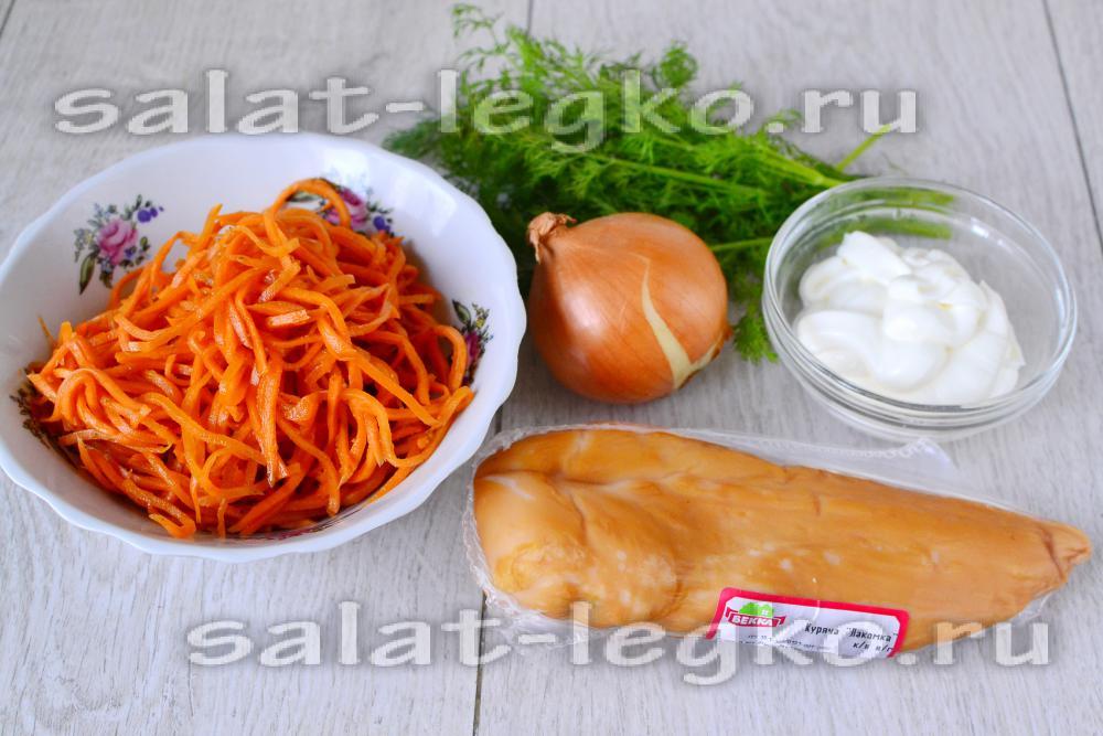 рецепт салата с окорочком и морковью по корейски