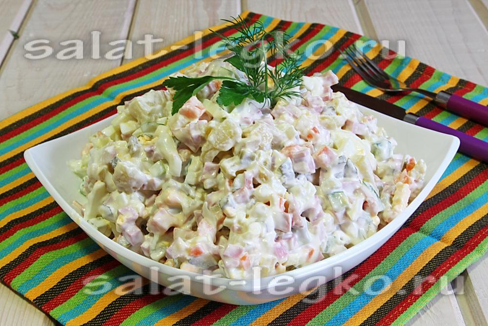 зимний салат рецепт с колбасой пошаговый рецепт с фото