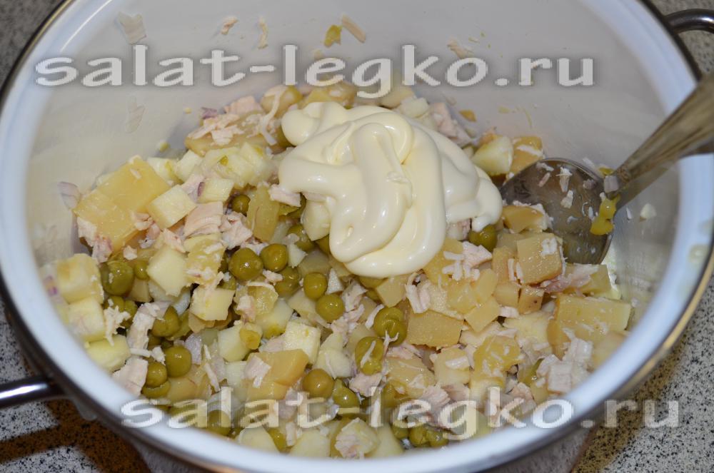 рецепт салата курицы с ананасом и грибами рецепт с фото