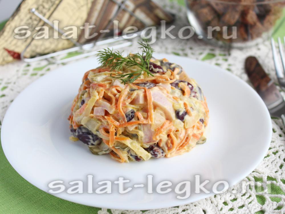Салат с фасолью с пошагово с шампиньонами