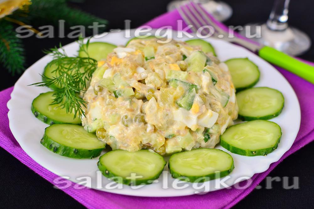 рецепты салатов на день рождения из горошка