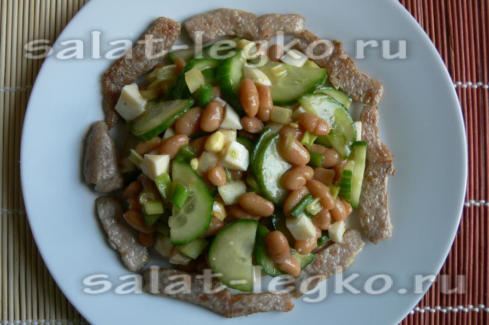 рецепт салатов с отварной свининой