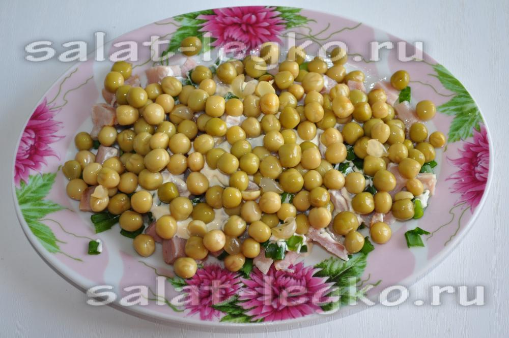 салаты с маринованными шампиньонами рецепты с горошком