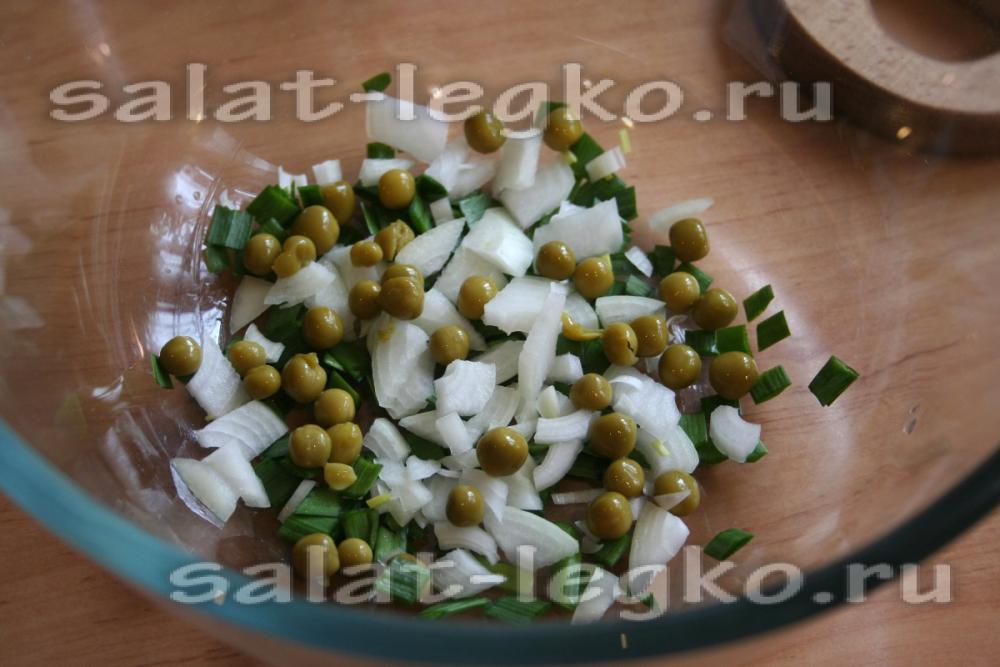 рецепт салата зеленый горошек и яйцом