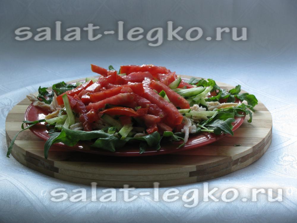 Рецепт салата из копченой куриной грудки и сыра огурца