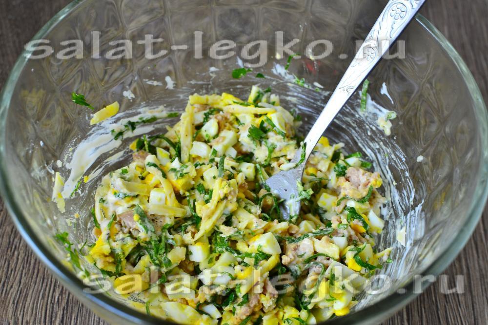 Скумбрия с грибами салат рецепт