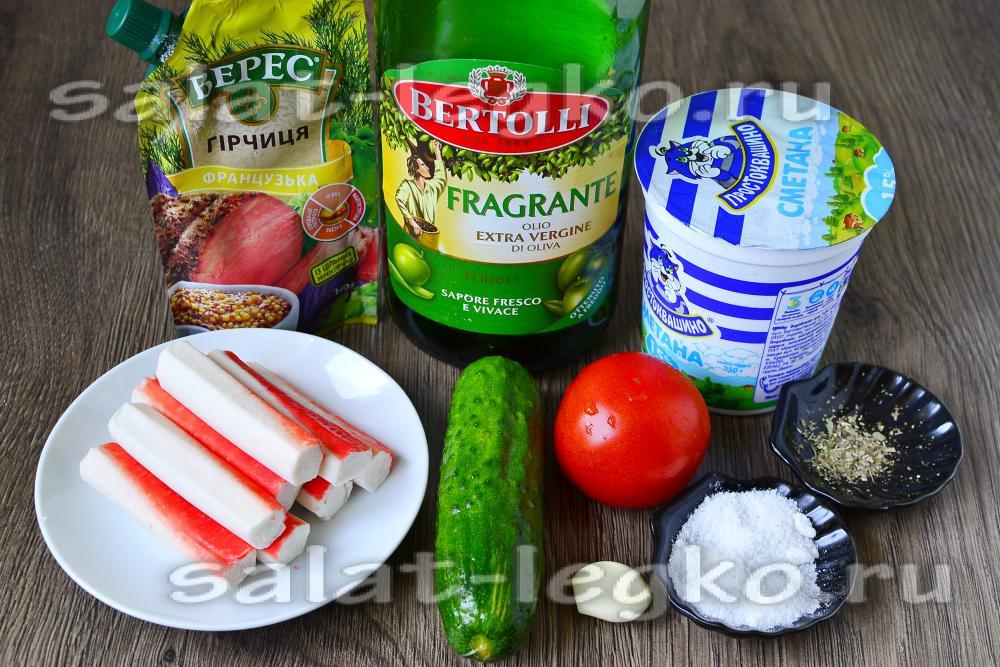 рецепт салата из огурцов помидоров и крабовых палочек