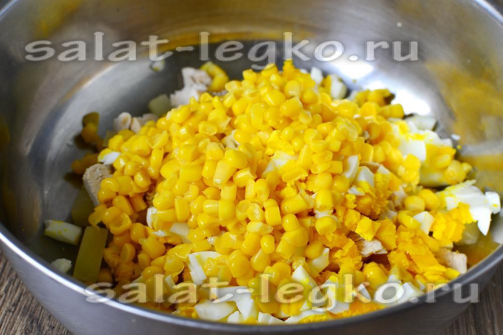 Салат из ананасов консервированных ананасов с курицей