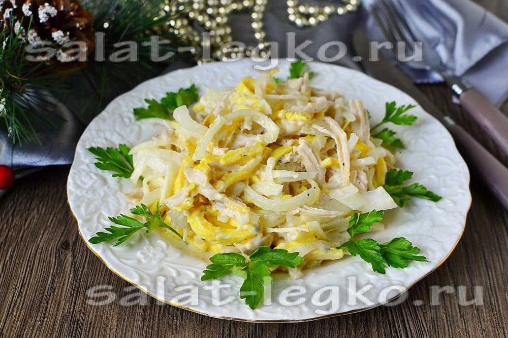 рецепт салата с блинчиками и мясом