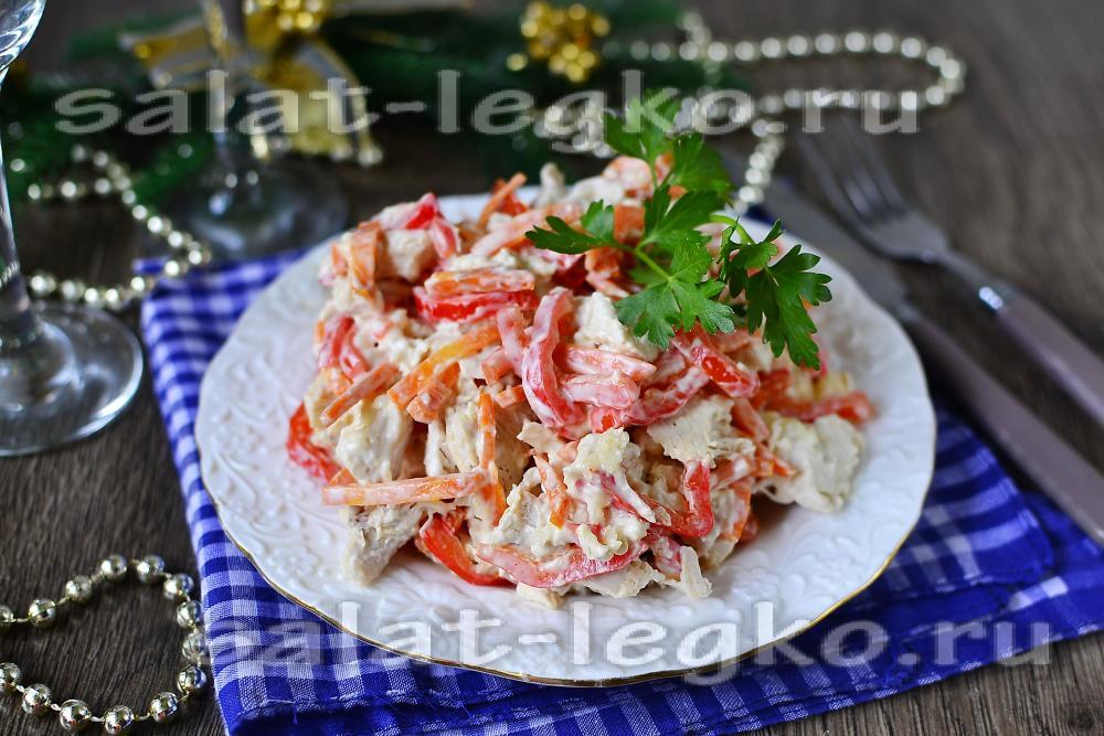 Салат с корейской морковью и курицей  23 рецепта с фото