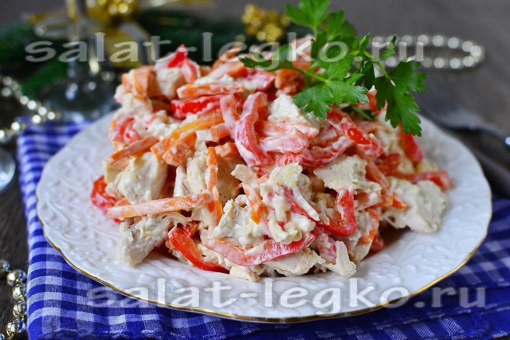 рецепт салата с копченой грудкой и горошком