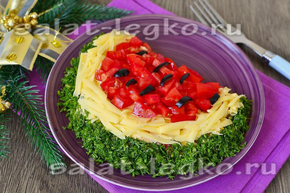 Салат арбузная долька пошаговый рецепт с без грибов