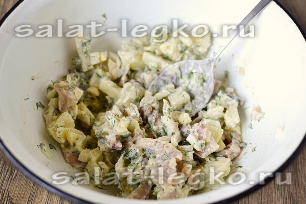 рецепт салата из скумбрии с свеклой