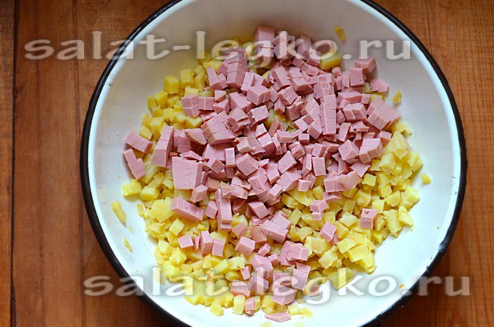 Рецепт салата с вареной колбасой с 68