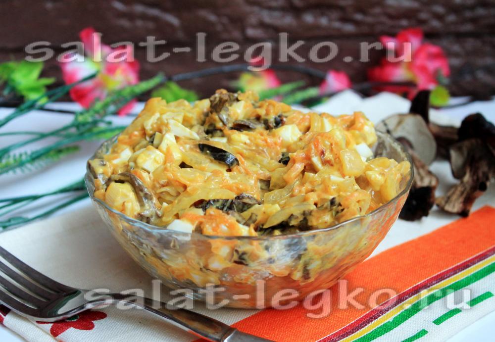 рецепт салата с сушеными грибами и курицей