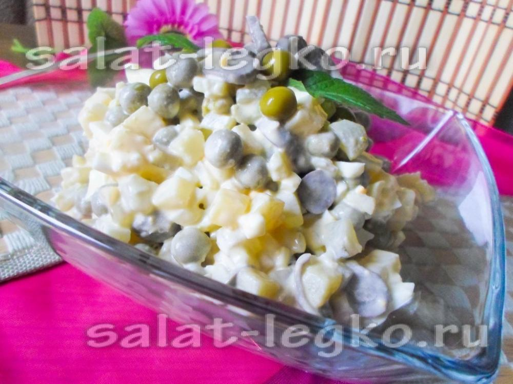 Салат с сердечками куриными и горошком картинки