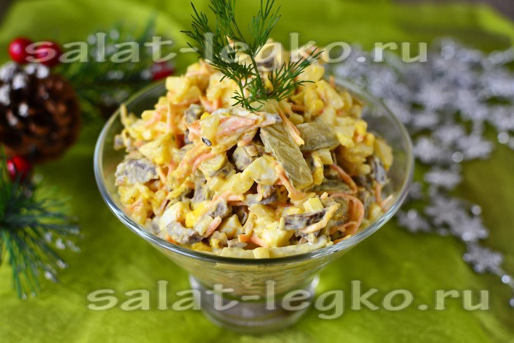 рецепт салата с маринованным луком и грибами