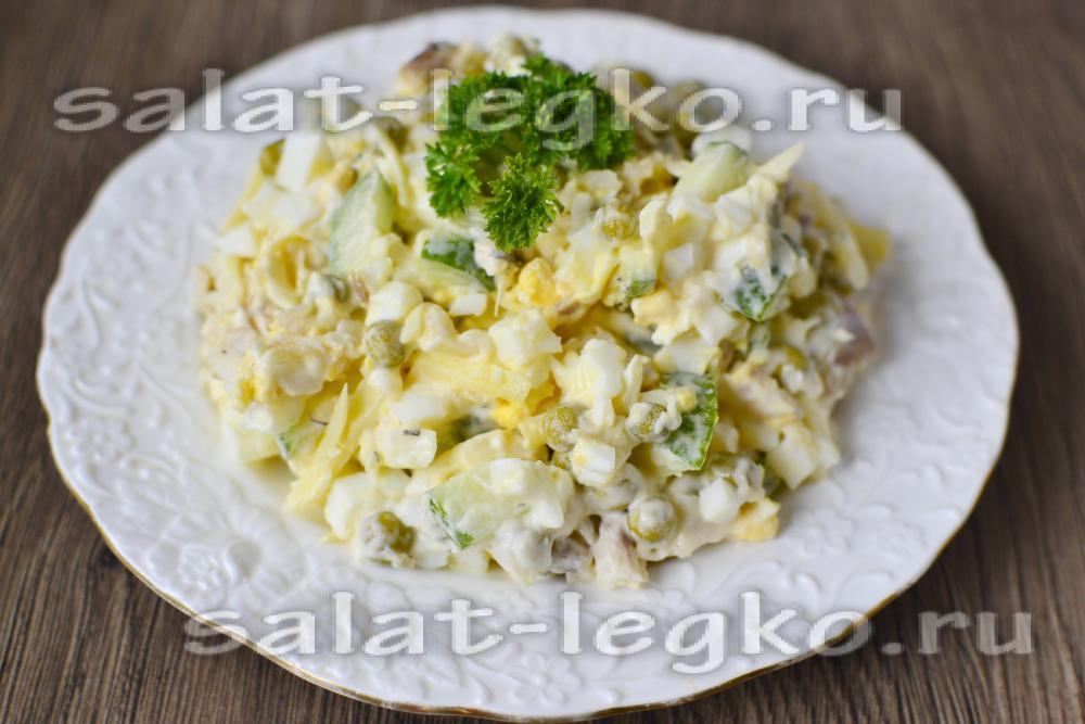 Салат с грибами и отварной рыбой рецепт